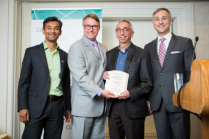Left to right: Nauby Jacob, Vice President of Services, Products and Content, Bell Mobility; Ted Opitz, Member of Parliament for Etobicoke Centre; Dr. Ivan Silver, Vice-President of Education, Centre for Addiction and Mental Health; CWTA President Bernard Lord.
