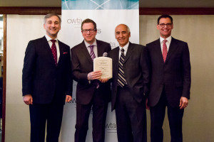 Left to right: CWTA President Bernard Lord; Dr. Harley Eisman, Director of the Pediatric Emergency Department at Montreal Children's Hospital; Jorge Pomalaza Ráez, IT Advisor, McGill University Health Centre; Serge Sasseville, Senior Vice President, Corporate and Institutional Affairs, Quebecor Media.