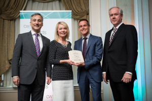 Left to right: CWTA President Bernard Lord; Candice Bergen, Minister of State for Social Development and Member of Parliament for Portage-Lisgar; Peter Coleridge, National CEO of the Canadian Mental Health Association; Barry Chapman, Vice President of Regulatory Affairs, Bell Canada.